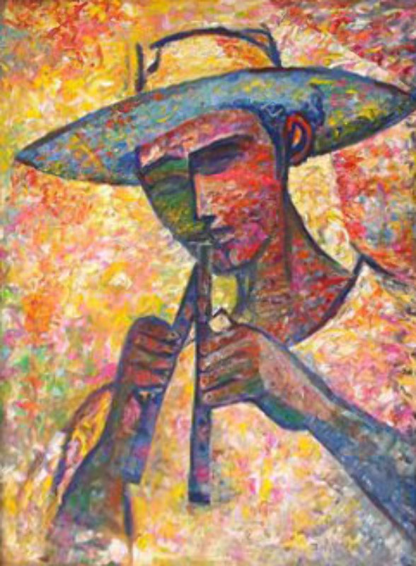 Untitled - Man with Flutes 1987 35x23
