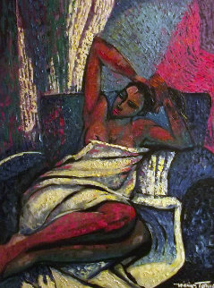Amorous Lady 1993 48x38 Original Painting - William Tolliver