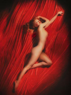 Red Velvet Pose #1 Stretch/Marilyn Monroe 1950 Photography - Tom Kelley