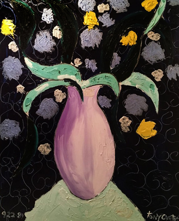 Flowers in Lavender Vase on Mint Table 1989 41x51