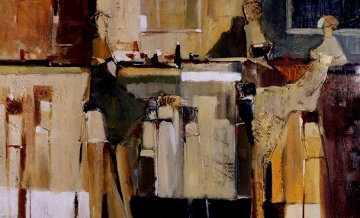 Cafe Terrace 1984 26x41 Original Painting - Yuri Tremler
