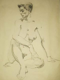 Untitled Drawing (Nude Figure) 25x19 Drawing - Boris Vallejo