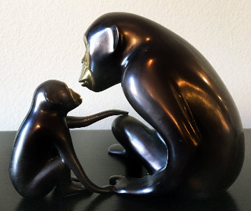 Chimp And Baby Bronze Sculpture 1998 7 in Sculpture by Loet Vanderveen