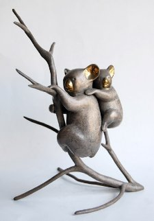 Koala And Baby Bronze Sculpture 1990 12x10 Sculpture - Loet Vanderveen
