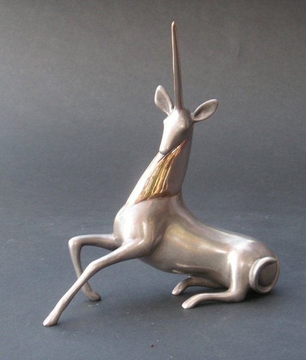 Unicorn Bronze Sculpture 2000 7 in
