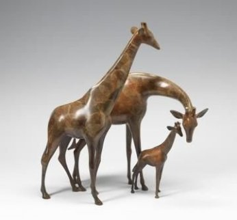 Giraffe Family Bronze Sculpture 21 in Sculpture - Loet Vanderveen