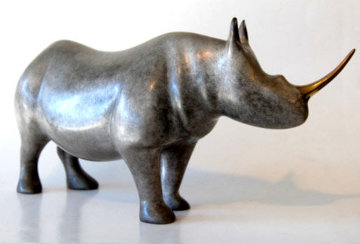 African Rhino Bronze Sculpture 1987 11 in Sculpture - Loet Vanderveen