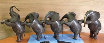 Elephants, Standing Bronze Sculpture 20 in Sculpture - Loet Vanderveen