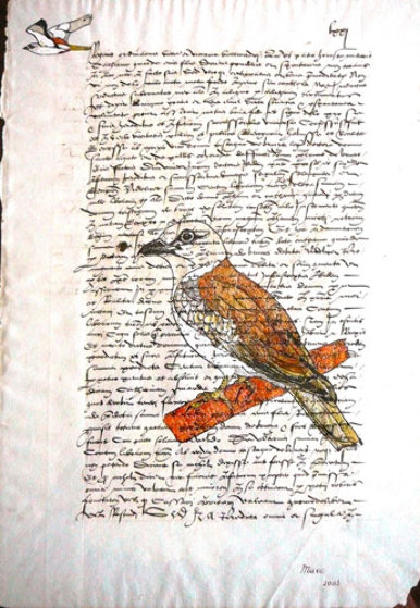 Bird on Parchment 2002 13x10