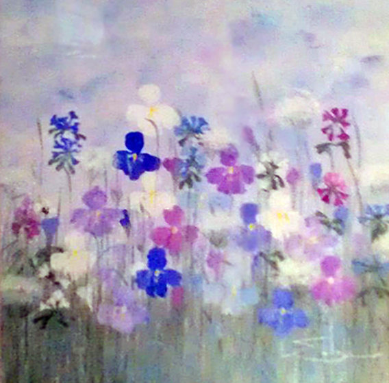 Field of Flowers 1983 31x32 Original Painting by Eda Varricchio