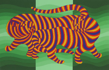 Two Tigers (Green) 1980 Limited Edition Print - Victor Vasarely