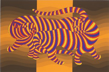 Two Tigers on Gold 1980 Limited Edition Print - Victor Vasarely
