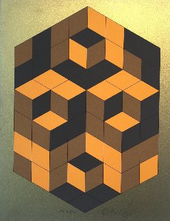 Composition Gold 1980 Limited Edition Print - Victor Vasarely