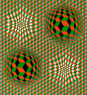 Untitled #6 (2 Black Spheres With Green And Gray) 1970 Limited Edition Print - Victor Vasarely