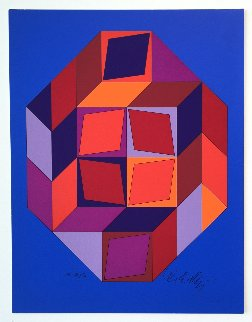 Untitled #7 (Blue, Red And Purple) Limited Edition Print - Victor Vasarely