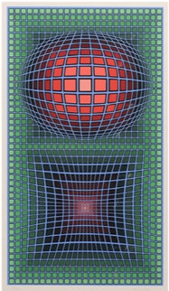 Composition in Green, Red And Violet Limited Edition Print - Victor Vasarely