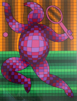 Tennis Player 2 Limited Edition Print - Victor Vasarely