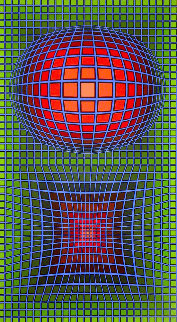 Composition in Green, Red And Violet 1980 Limited Edition Print - Victor Vasarely
