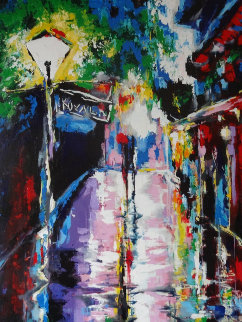 Pirates Alley - After Rain 2008 58x39 Original Painting - Vena Grebenshikov