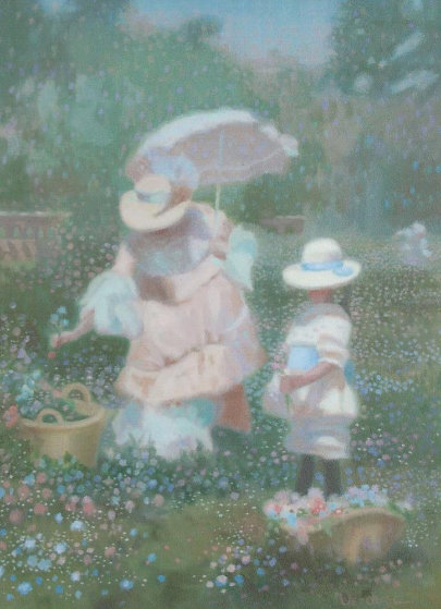 In the Meadow - Woman With Parasol 1988 27x21
