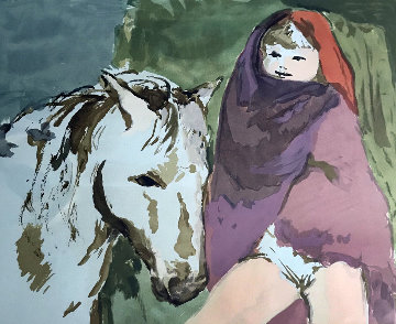 Untitled (Woman with Horse) Limited Edition Print - Marcel Vertes