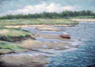 Marshes Wells Harbor at Ebb Tide 20x30 Maine Original Painting - John Vignari