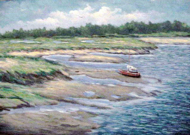 Marshes Wells Harbor at Ebb Tide 20x30 Maine