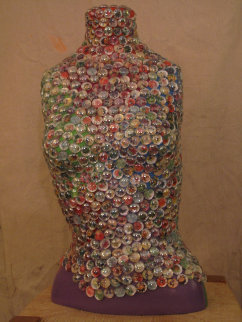Maria Quatro Sculptural Mosaic with Glass Beads 25 in Sculpture - Kay Villalobos