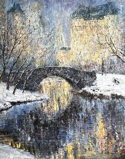 Christmas in Central Park 50x40 Original Painting - Vladimir Mukhin