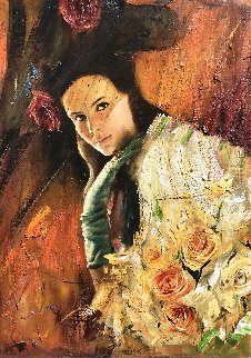 Girl With Roses 33x22 Original Painting - Vladimir Mukhin