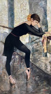 In Ballet Class 2015 54x30 Original Painting - Vladimir Mukhin