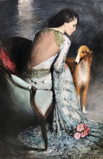 Muse And the Dog 2015 59x39 Original Painting - Vladimir Mukhin