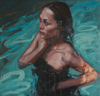 Tina (Swimming)'25x23 Original Painting - Nico Vrielink