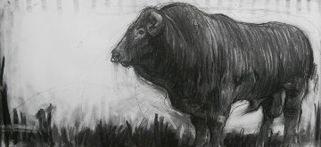 Bull Charcoal 2013 15x32 Drawing - Nico Vrielink