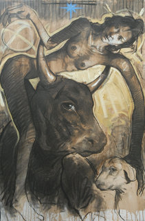 Untruthful Dog Was Caught in the Neck While He Was Carrying Her As A  Feather 2012  59x39 Original Painting - Nico Vrielink