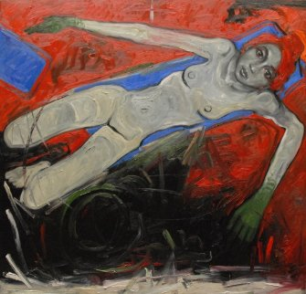 Floating Woman in the Red Sea (Part 2 ) 2012  78x78 Original Painting - Nico Vrielink