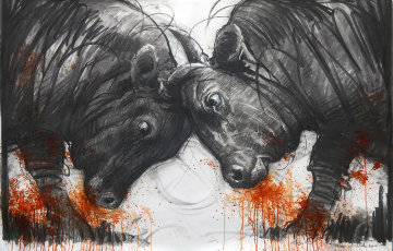 Clash of Titans  2014 38x59 Drawing - Nico Vrielink