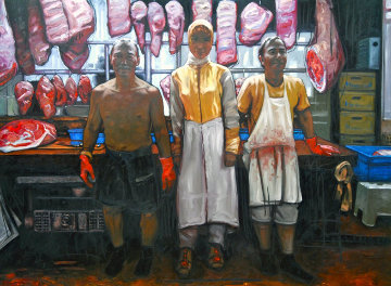 Butchers of Hong Kong 2014 59x79 Original Painting - Nico Vrielink