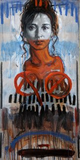 Portrait of a Woman 2015 39x19 Original Painting - Nico Vrielink