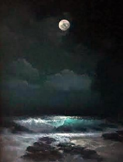 Full Moon Sandy Beach 1994 35x29 Original Painting - Walfrido Garcia