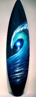 Green Room Surfboard 2016 77x20 Original Painting - Walfrido Garcia