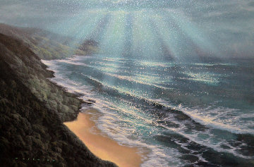 Light From Heaven 2001 36x26 Original Painting - Walfrido Garcia