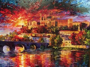Sunset Over Beziers AP 2014  Embellished  Limited Edition Print - Daniel Wall