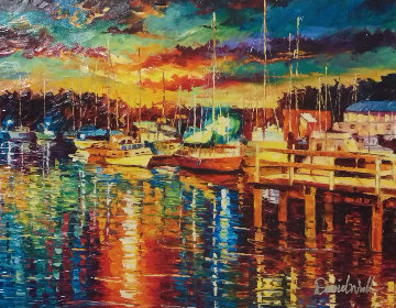 Glitter Harbor  Embellished Limited Edition Print - Daniel Wall