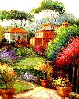 Glorious Villa Walkway 2000 42x36 Original Painting - Scott Wallis