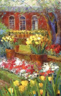 Filoli Tulips 2000 42x30 Original Painting - Scott Wallis