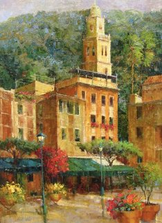 Seaside Port, Portofino 2000 46x36 Original Painting - Scott Wallis
