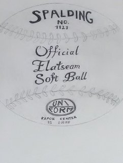 Spalding Inc. Official Flat Seam Soft Ball Drawing 16x13 Drawing - Andy Warhol