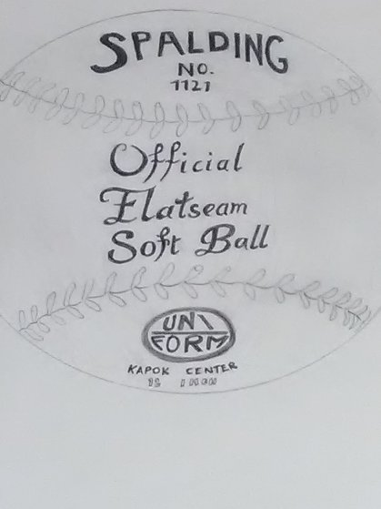 Spalding Inc. Official Flat Seam Soft Ball Drawing 16x13