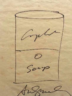 Campbell's Soup Hand Drawn Sketch 1968 Drawing - Andy Warhol